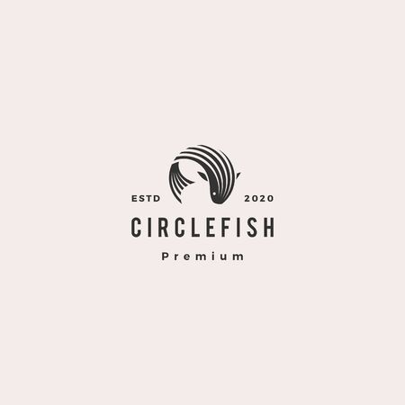 round circle fish logo hipster retro vintage vector icon illustration Illustration
