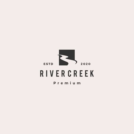 river creek logo hipster retro vintage vector icon illustration 版權商用圖片 - 133532373