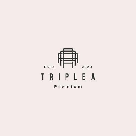 triple a monogram aaa letter hipster retro vintage lettermark logo for branding or t shirt design