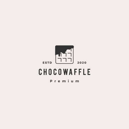 choco waffle chocolate logo hipster retro vintage vector icon