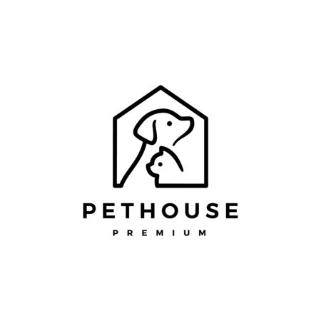 dog cat pet house home logo vector icon illustration Illustration