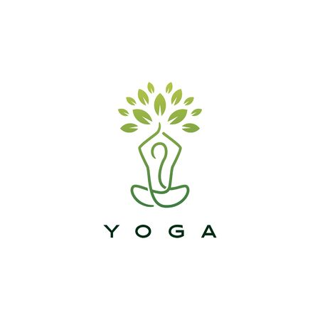 yoga leaf tree logo vector icon illustration