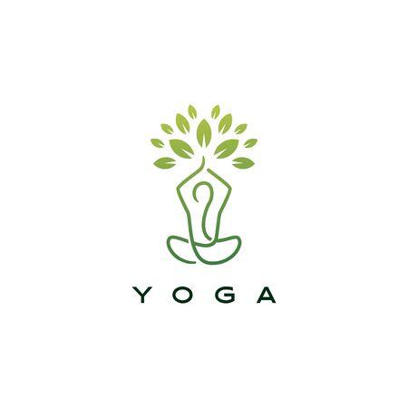 yoga leaf tree logo vector icon illustration Archivio Fotografico - 134856251