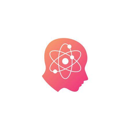 atom human head science mind think logo vector icon illustration Stock Vector - 134856301