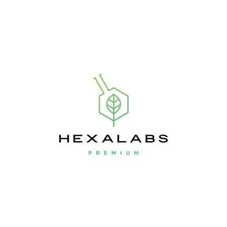 hexagon leaf nature lab hexalabs logo vector icon illustration