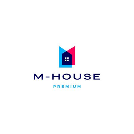 m house logo vector icon illustration in overlapping style Ilustração
