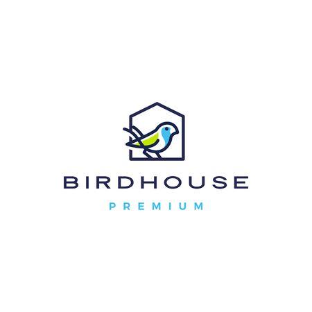 oiseau maison logo icône vecteur illustration