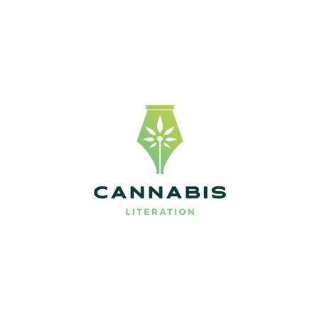 cannabis pen logo vector icon illustration