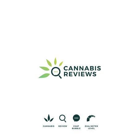 cannabis review magnifying glass talk bubble logo vector icon illustration