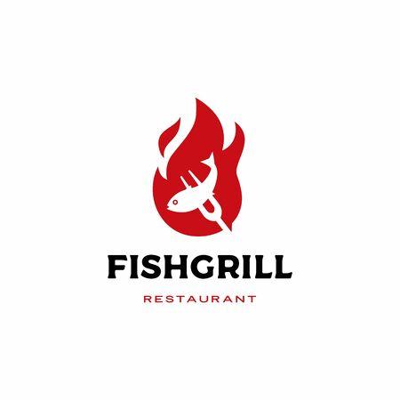 roasted fish grill logo vector icon illustration