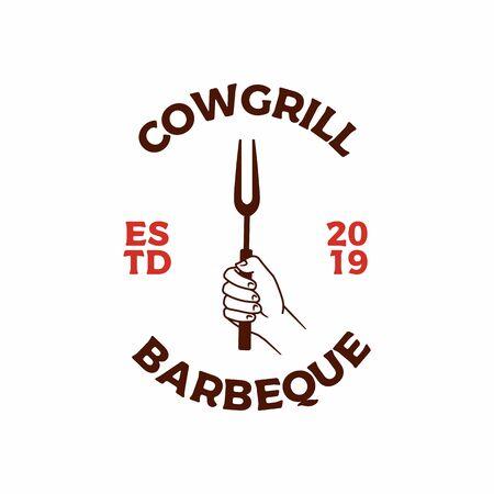 hand bring grill spatula fork logo vector icon illustration Illustration