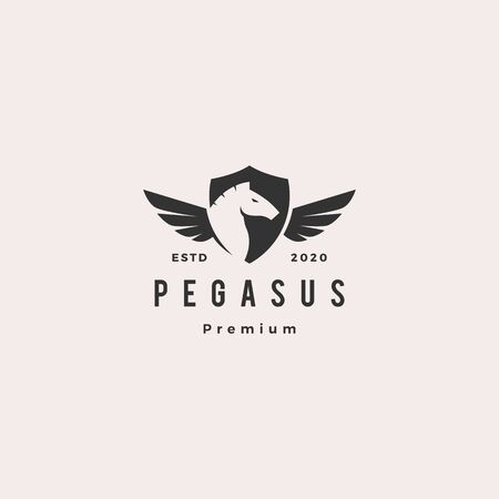 pegasus horse shield logo hipster vintage retro vector icon illustration