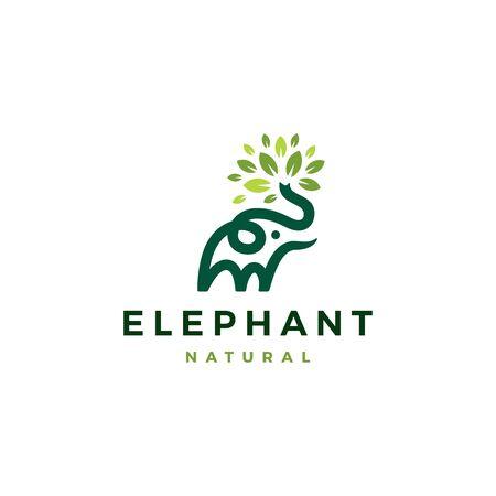 elephant leaf leaves tree logo vector icon illustration Logos