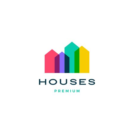 Maison colorée maison hypothèque toit architecte logo icône vecteur illustration