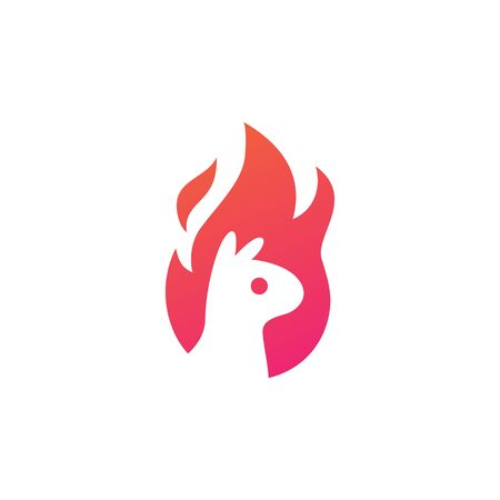 alpaca fire flame logo vector icon illustration negative space