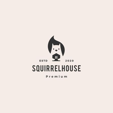 squirrel home house mortgage logo vector icon mascot character illustration hipster vintage retro