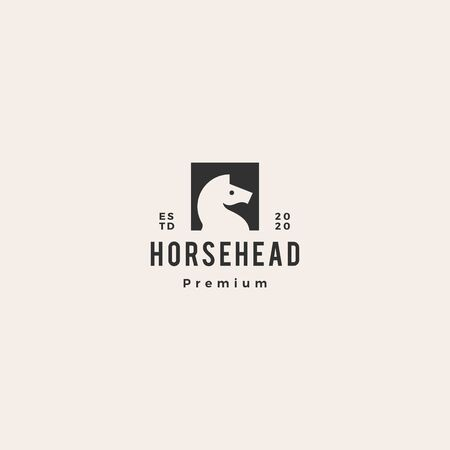 horse head logo vector icon illustration hipster retro vintage