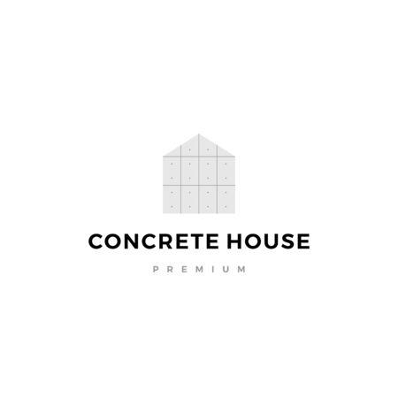 illustration de l'icône vecteur logo maison en béton exposé