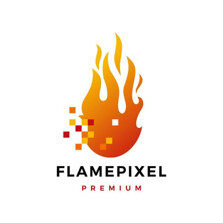 pixel flame fire digital logo vector icon illustration