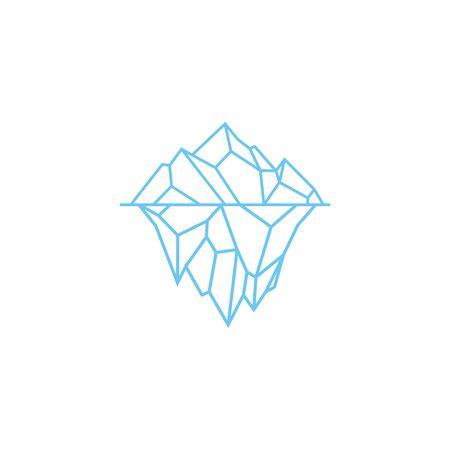 iceberg logo geometric line outline monoline illustration Stock Illustratie