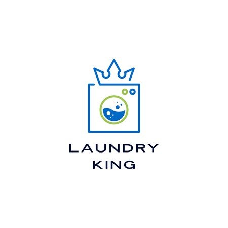 king crown laundry washing machine water logo vector sign illustration