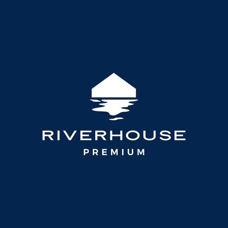 river house logo vector icon illustration