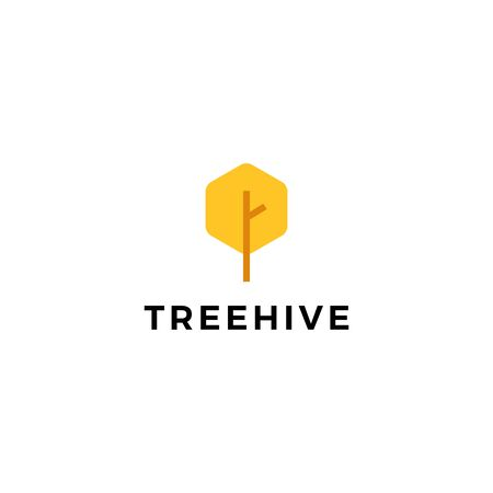 tree hive honey hexagon logo vector icon illustration