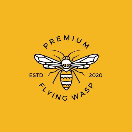 wasp crest logo vector emblem badges illustration