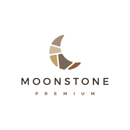 moon stone stones logo vector icon illustration