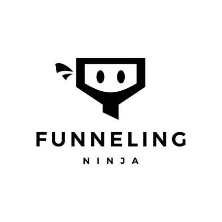 funneling ninja logo vector icon illustration