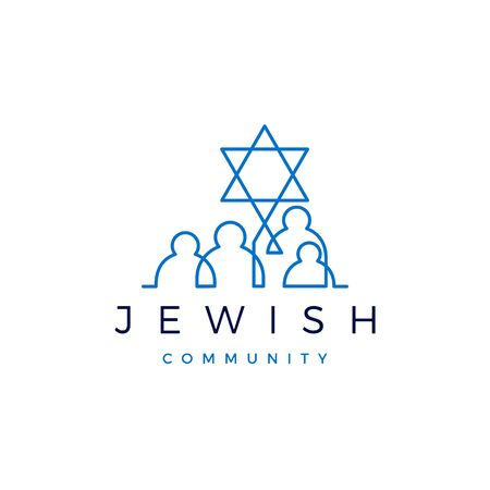 jewish community people family logo vector icon illustration