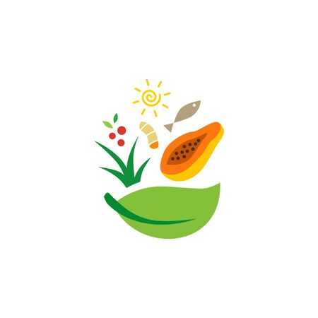salad food bowl fish leaf papaya turmeric logo vector icon illustration