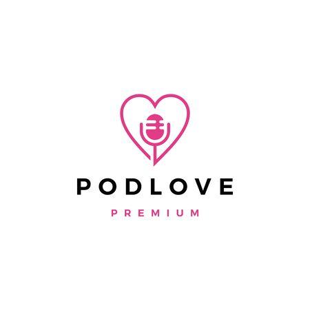 mic love podcast logo vector icon illustration