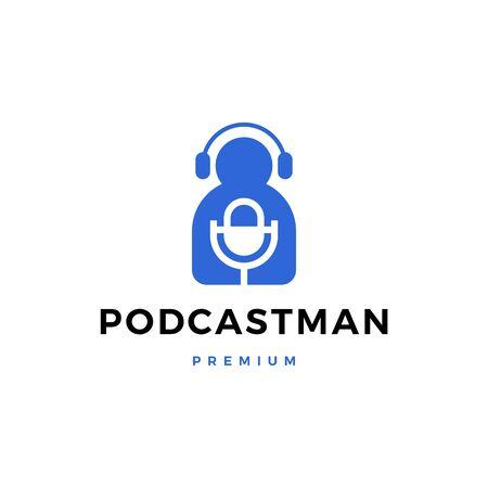 podcast man logo vector icon illustration Vettoriali