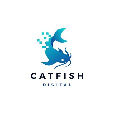 cat fish digital pixel logo vector icon illustration