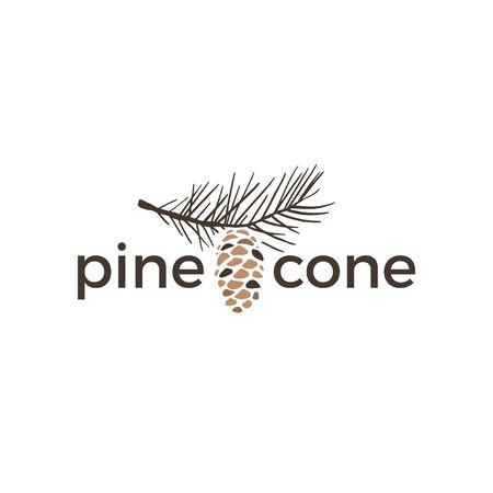 pine cone vintage retro logo vector icon illustration Logo