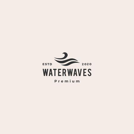 water wave hipster vintage logo vector icon illustration