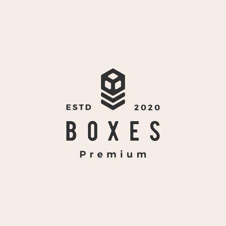 boxes hipster vintage logo vector icon illustration Vectores