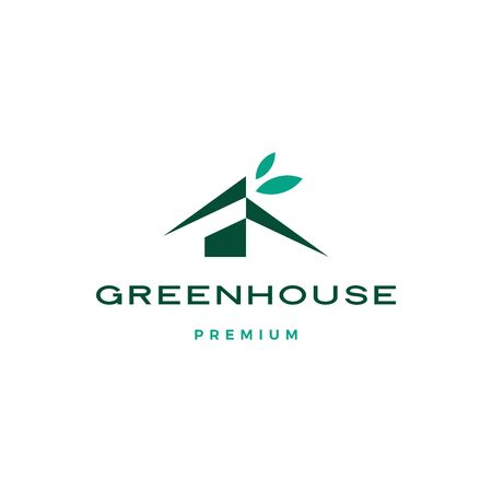 green house leaf roof logo vector icon illustration
