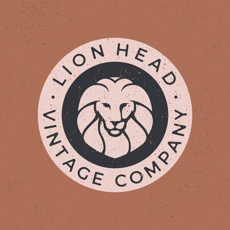 lion head vintage logo vector icon illustration