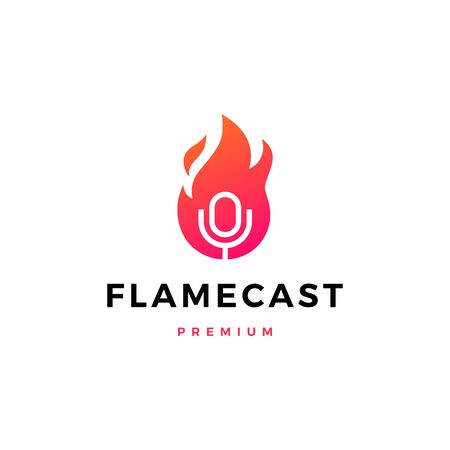 flame fire podcast mic logo vector icon illustration Illustration
