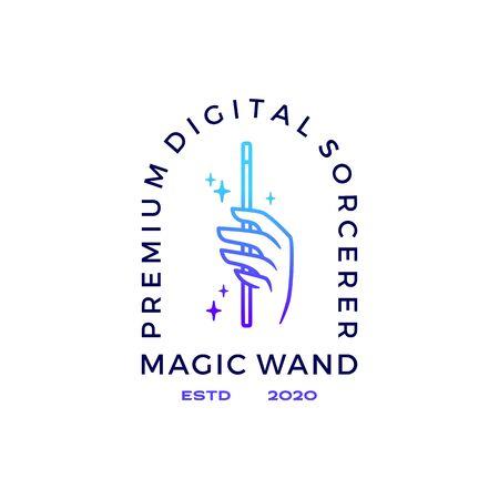 hand magic wand logo vector icon illustration