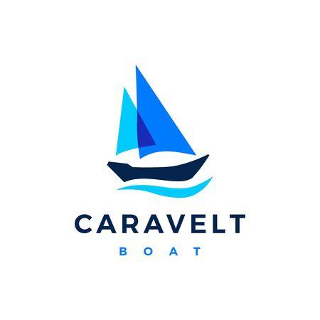 caravelt boat logo vector icon illustration Illustration