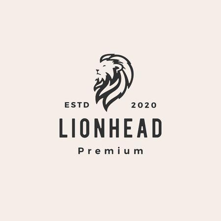 lion head hipster vintage logo vector icon illustration
