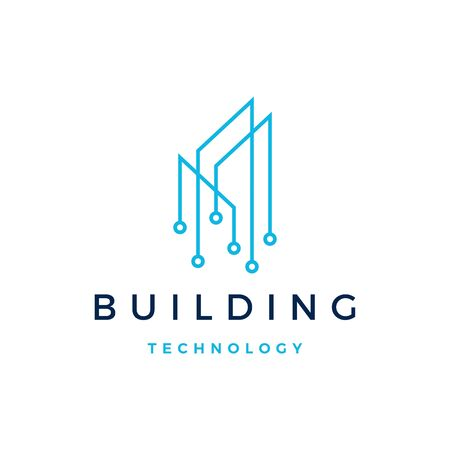 building tech logo vector icon illustration
