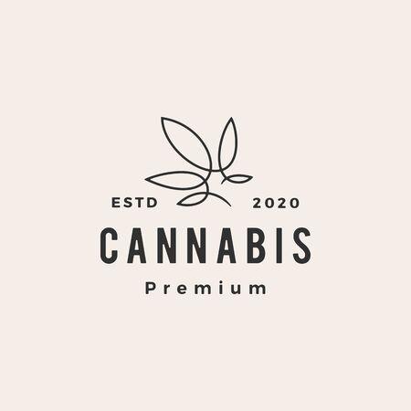 cannabis hipster vintage logo vector icon illustration 向量圖像