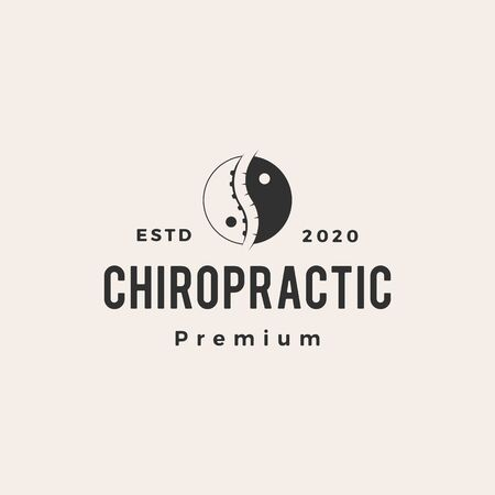yin yang chiropractic hipster vintage logo vector icon illustration Illusztráció