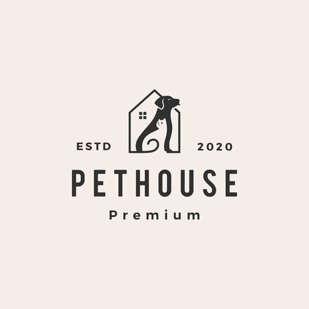 pet house dog cat hipster vintage logo vector icon illustration Vettoriali