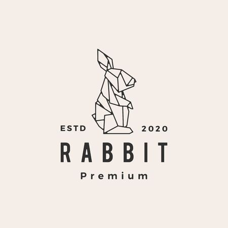 origami rabbit hare bunny hipster vintage logo vector icon illustration Vectores