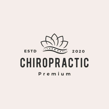 lotus leaf chiropractic hipster vintage logo vector icon illustration